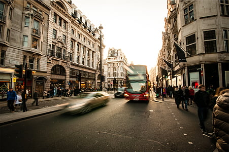 red, bus, road, streets, cars, city, urban