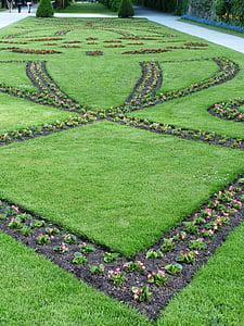 krevet, vrtovi, sadnja, barokna, Vrtovi Mirabell, Salzburg