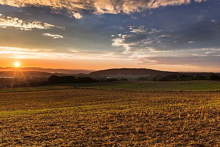 sunset, mood, sun, afterglow, fields, landscape, romance