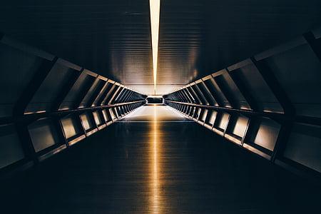 Ver, túnel, amarillo, luz, Puente - hombre hecho estructura, transporte, reflexión