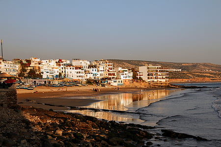 morocco, taghazout, beach, sea, wave, water, coast