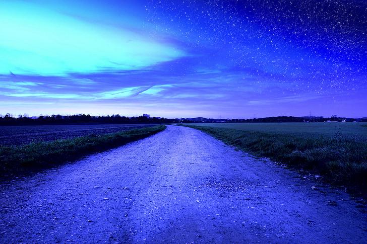 videvik, Daybreak, öö, hommikul, ära, väli, taevas