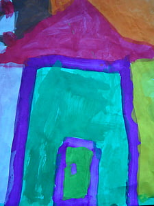home, watercolor, children drawing, brush, paint, painting, colorful