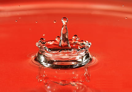 gota, l'aigua, macro, esquitxades, moviment, vermell, fotografia d'alta velocitat
