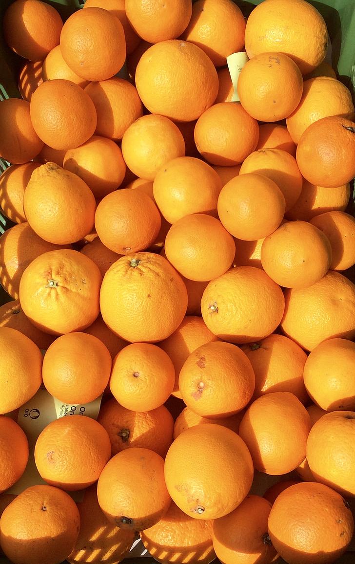 taronges, fruites, mercat, cítrics, fruita
