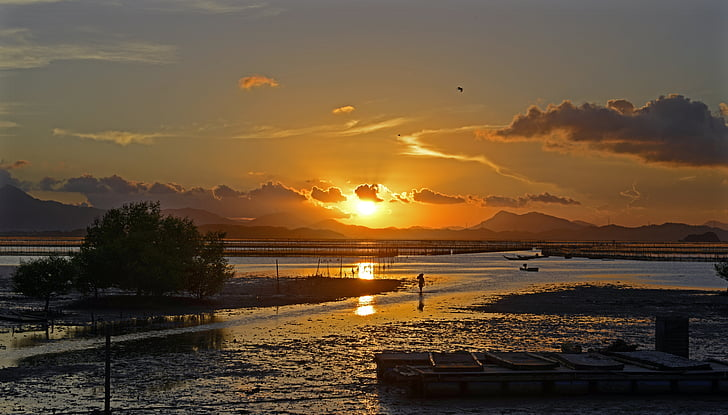 solnedgång, yanzhoudao, Shoals, kvällen, Sky, naturen, Mountain