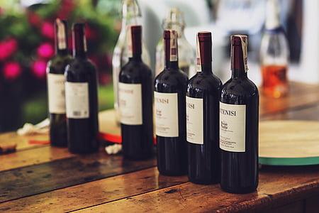pudel, veini, punane, alkoholi, paar, õhtusöök, Romantika