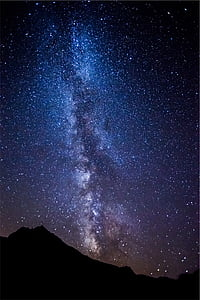 blau, blanc, Làctia, manera, galàxia, estrelles, cel