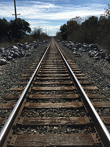 perspective, tracks, train tracks, transportation, road, direction, industry