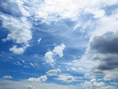 nebo, modra, širok, modro nebo, nebo modro ozadje, dan, vreme