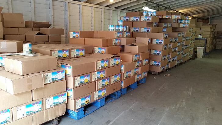 magatzem, Palet, aliments, producte, Caixa, emmagatzematge, produir
