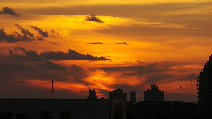 posta de sol, Nova york, sol ponent