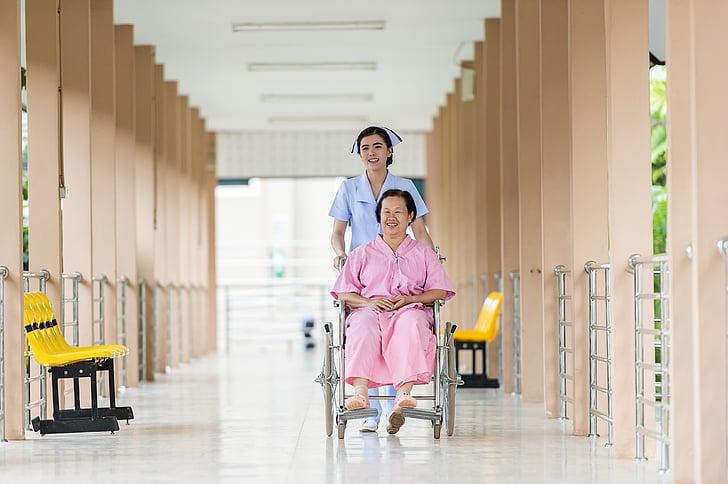 Asien, Hilfe, Pflege für, Hausmeister, sprechen, Bürger, Klinik