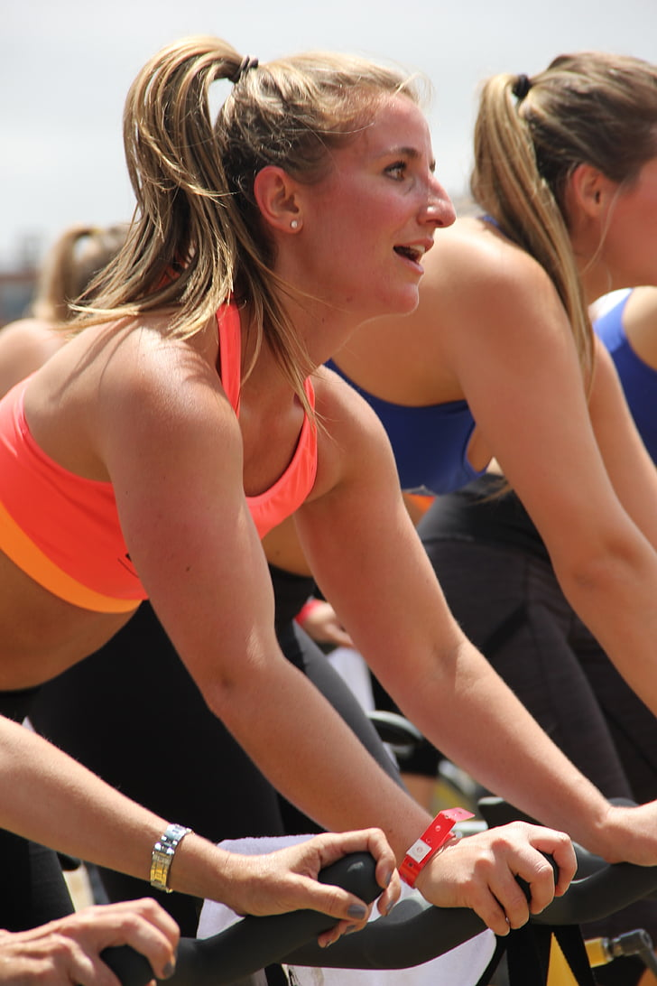 atbilst, sievietes, fitnesa, veselīgi, dzīvesveids, jaunais, apmācības