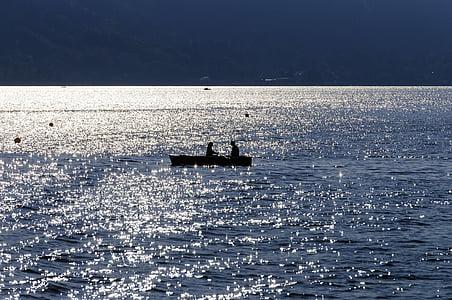 barca de rems, Llac, parell, ona, Rem, l'aigua, bota