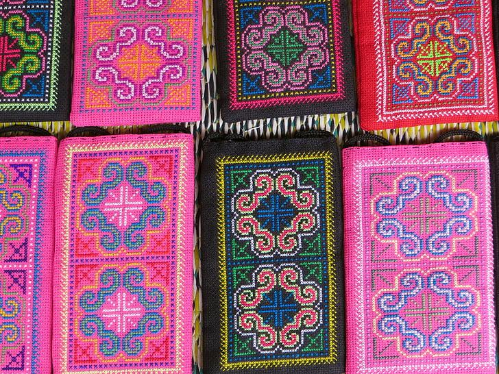 Laos, Výšivka, hodvábneho priemyslu, trhu, farby, ružová, Zelená