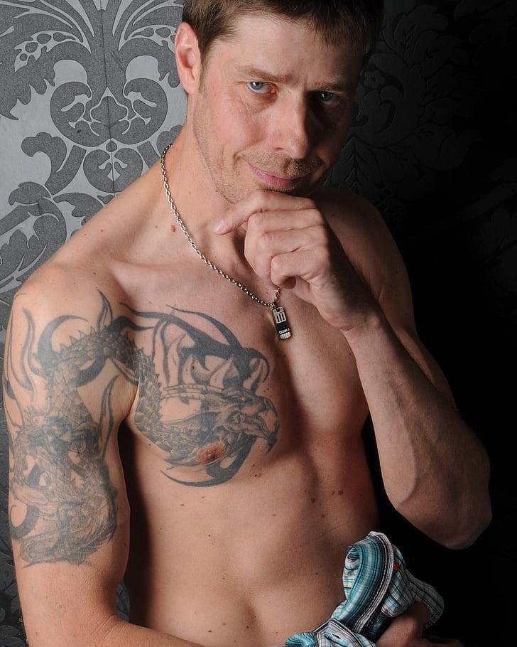 vīrietis, portrets, vīrietis, tetovēto, akts, seksīgs, tetovējums