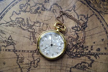 pulkstenis, kabatas, karte, kabatas pulksteni, skatīties, antīks, laiks