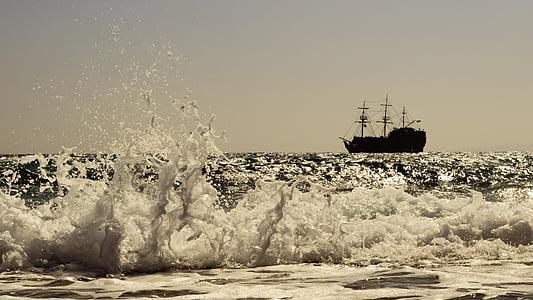 bølge, Smashing, DROPS, væske, skum, spray, båt