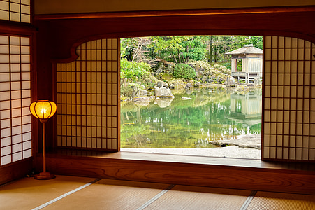 paysage, Japon, maison du Japon, jardin du Japon, étang, vert, plante