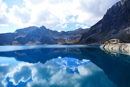 núvols, reflectint, l'aigua, cel, blau, Llac, Reflexions