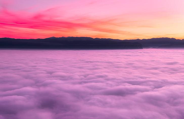 Eslovênia, céu, nuvens, cores, colorido, nevoeiro, densa