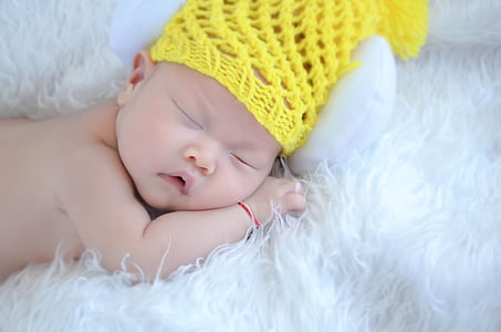bébé, nouveaux étudiants, mignon, chapeau, sommeil, petit, enfant