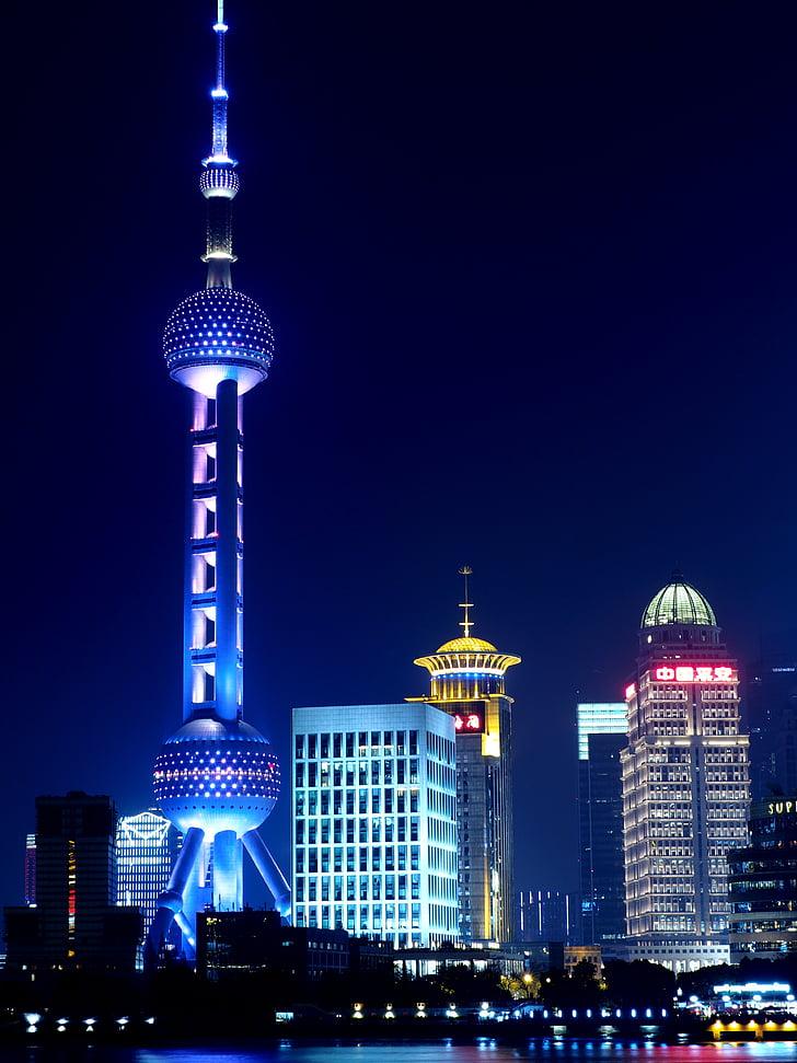 Shanghai, Oriental pearl tv tower, Öine vaade, Hiina Rahvavabariik, jõgi, arhitektuur, öö