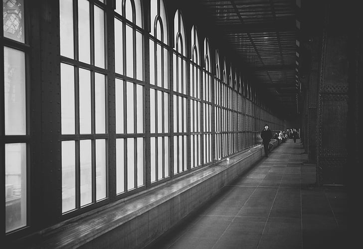 hal, Windows, industial, metaal, glas, geklonken, het platform