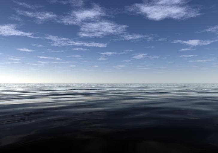 Ocean, lugn, fred, fredliga, sommar, dimma, havet