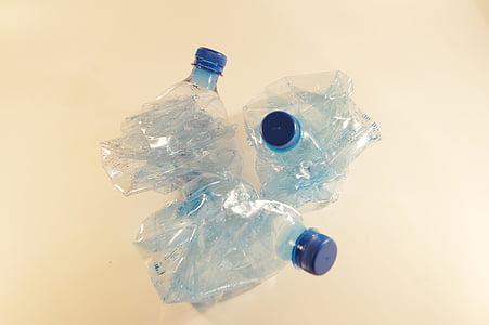 塑料瓶, 回收, 塑料, 通过参与, 垃圾, 废物, 转储箱