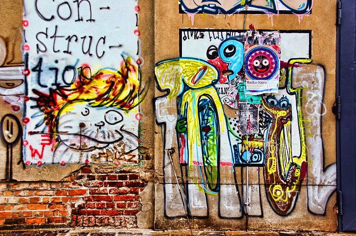 graffiti, falfestés, spray, Art, hauswand, festészet, permetezőgép
