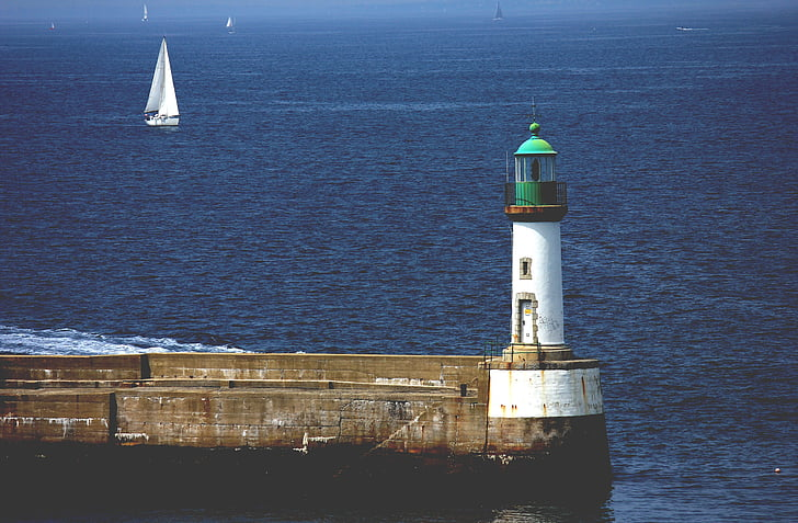 Beacon, ljus hus, mullvad, havet, kusten, tornet, nautisk
