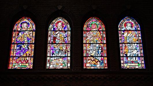 baznīcas logu, logs, baznīca, vitrāžas, stikls, spīdēt cauri, krāsa