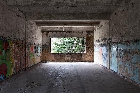 elhagyott, Art, épület, graffiti, rongálás, falak