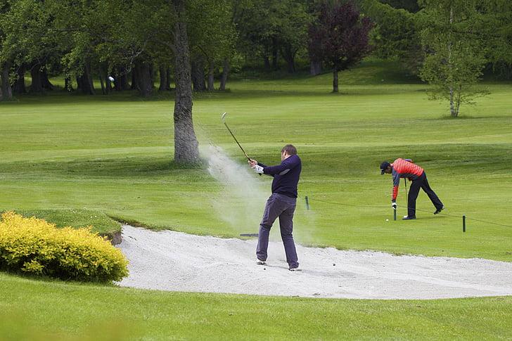 golf, grass, sand, course, golfing, game, club