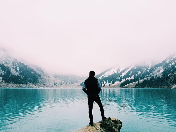 adventure, hiker, lake, man, mountain, nature, water