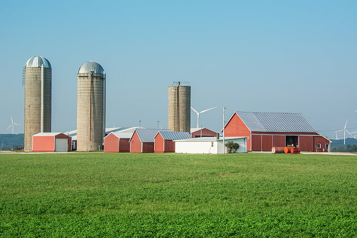 farm, silos, agriculture, rural, barn, country, field