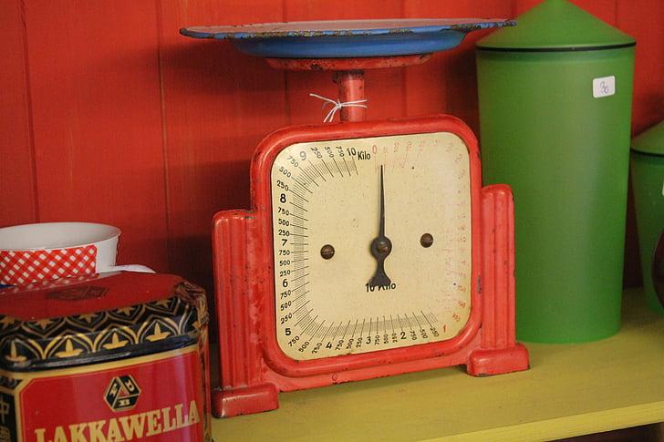 antique, horizontal, Balance de cuisine, faire cuire, poids, ustensile de cuisine, payer