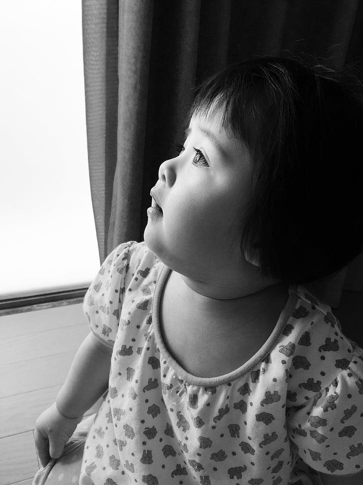 black white, child, hope