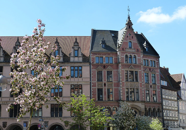hanover, old town, lower saxony, spring, facade, building, architecture