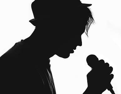silueta, músic, vocalista, micròfon, artista, Concert, música