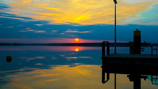západ slnka, Sky, vody, reflexie, oblaky, slnko, dosvit