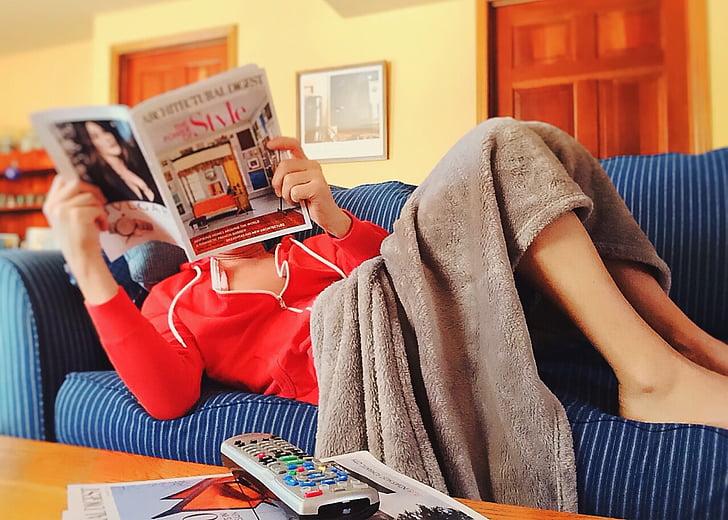 lectura, sofà, relaxar-se, sofà, l'interior, oci, casa