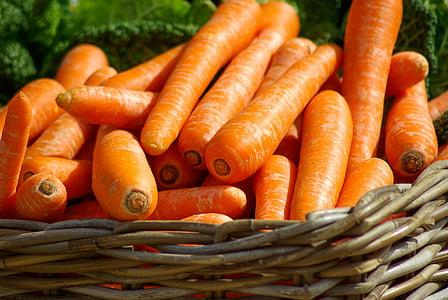 burkāni, grozs, dārzeņi, tirgus, dārzenis, burkāni, pārtika