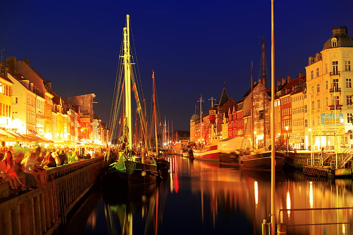 copenhagen, night, lights, sky, yellow, reflection, highlights