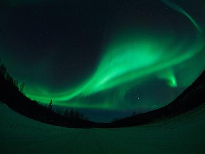 Aurora, Alaska, Fairbanks, nieve, cielo, carretera, cielo de la noche