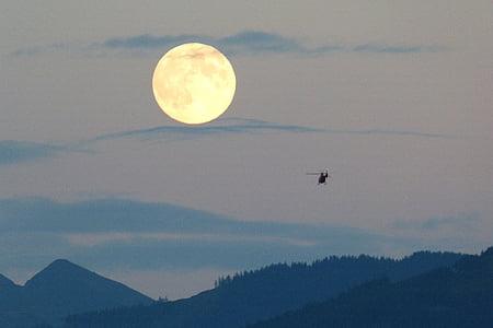 pilns mēness, mēness, Super mēness, milzīgs, helikopters, mākonis plume, krēslas
