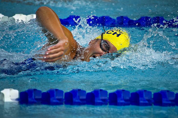 Natació, nedador, femella, cursa, carreres, piscina, l'aigua