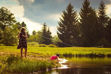 girls, fishing, creek, recreation, fishing rod, nature, lake